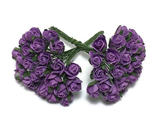 1 Bundle of 50pc Miniature Purple Artificial Flowers Paper Rose Flower Wedding Card Embellishment Scrapbook ()