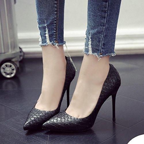 Fina Zapatos De Negro Con Zapatos Mujer Zapatos Los Chica Tacón Negro Uno Punta GAOLIM De De De Primavera xTzqwYgY6