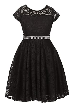 7fa2fb3ecb95 Image Unavailable. Image not available for. Color: iGirlDress Little Girls  Floral Lace Flower Girls Dresses Black 2