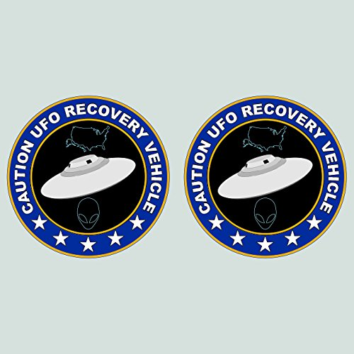 Two Pack UFO Recovery Vehicle Sticker Decal Vinyl alien flying saucer FA Vinyl