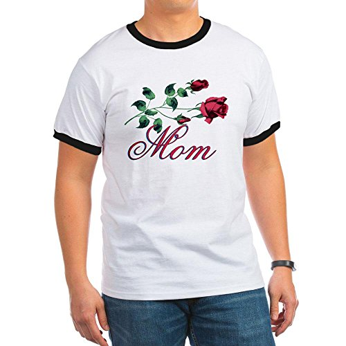 Royal Lion Ringer T-Shirt Mom with Roses for Mother's Day - Black/White, XL