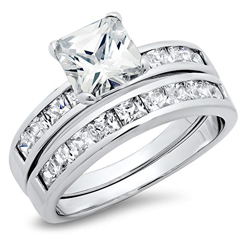 Sz 6 Sterling Silver Cubic Zirconia 2.8 Carat tw Princess Cut CZ Wedding Engagement Ring (Tiffany Set 6 Prong)