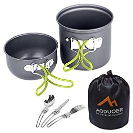 Aoduoer Camping Cookware Mess Kit Outdoor Cooking Equipment Cookset Camp Pot Pan Bowls – Free Folding Utensil Set, Mess Bag | Lightweight, Compact, Durable for Backpacking Hiking Scouts