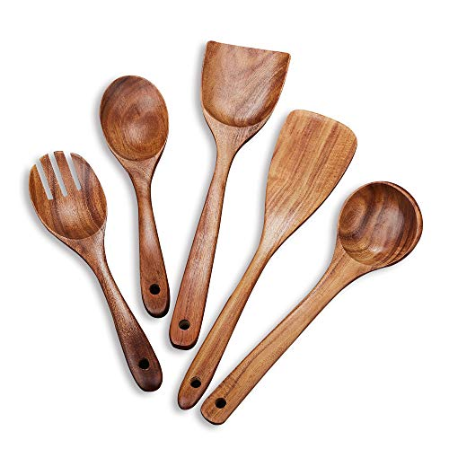 Wooden Kitchen Utensil Set 5 Cooking Utensils Spatula Spoons for Cooking Nonstick Cookware, 100% Handmade by Natural…