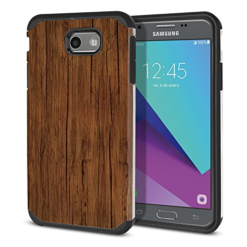 - FINCIBO Case Compatible with Samsung Galaxy J3 EMERGE J327 2017 2nd Gen, Dual Layer Hard Back Hybrid Protector Case Cover Anti Shock TPU For Galaxy J3 EMERGE (NOT FIT J3 2016, J3 PRO) - Red Brown Wood