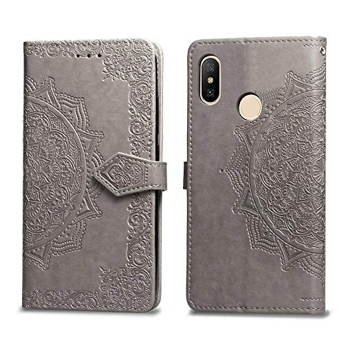 Price comparison product image MGVV Xiaomi Redmi 6 Pro Wallet Case,  Flower Embossing Design Flip PU Leather [Card Slots] & [Kickstand Function] Magnetic Design Flip Phone Case Cover Xiaomi Redmi 6 Pro Grey