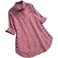 Feitengtd Fashion Women Striped Button Down Shirts Casual T-Shirt Long Sleeve Loose Tops T-Shirt Blouse