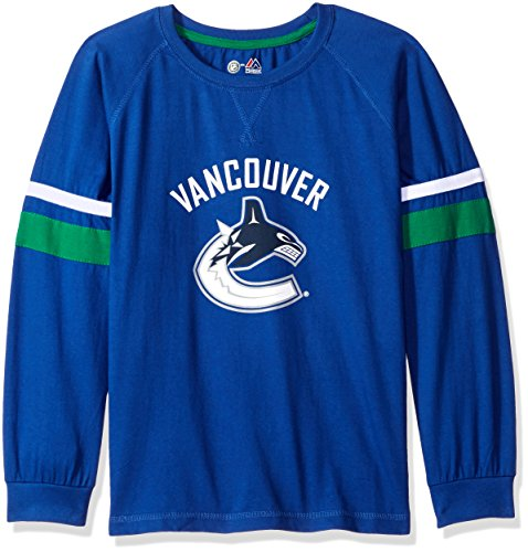 (Profile Big & Tall NHL Vancouver Canucks Long Sleeve Tee with Double Arm Stripes, Large, Royal)