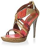 Rene Caovilla Women's Dress Sandal, Legno/Multi Rosso, 38.5 M EU/8.5 M US