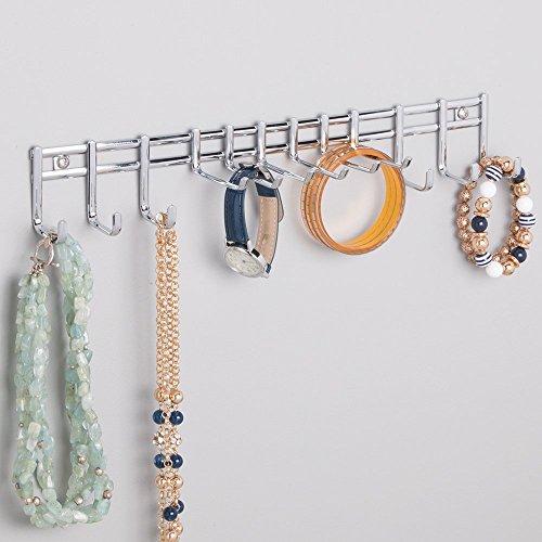 mDesign Range foulard pratique – porte-ceinture pour ceintures, serviettes, sacs et accessoires – porte-cravates muni de 12 crochets – montage mural – chrome