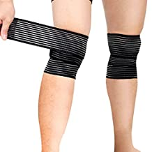 Sports Knee Wraps (Pair) with Velcro for Weight Lifting, Gym Workout, Cross Training WODs,Fitness & Powerlifting - Knee Straps for Squats - Compression & Elastic Support