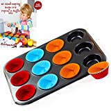 12 Non-Stick, BPA Free Silicon Muffin Cups, Bakeware mold with Regular Carbon Steel Cupcake Oven Pan