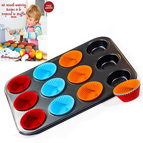 12 Non-Stick, BPA Free Silicon Muffin Cups, Bakeware mold with Regular Carbon Steel Cupcake Oven Pan by PolAnn Kitchen