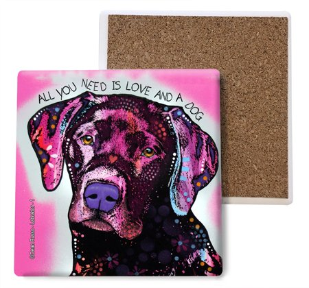 SJT ENTERPRISES, INC. Labrador - All You Need is Love and a Dog (Pink Background) Absorbent Stone Coasters, 4-inch (4-Pack) Features The Artwork of Dean Russo (SJT07024)