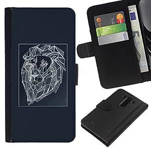 A-type (Polygon Blue Lion Abstract Art Painting) Colorida Impresión Funda Cuero Monedero Caja Bolsa Cubierta Caja Piel Card Slots Para LG G3