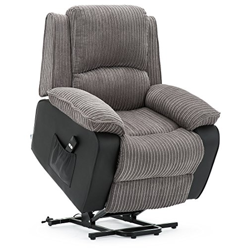 More4Homes POSTANA JUMBO CORD FABRIC RISE RECLINER ARMCHAIR ELECTRIC LIFT...