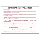 Certification of Written Examination and Road Test - Pocket Cards (Qty: 48 Units)