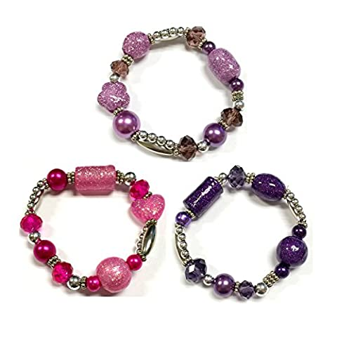 Linpeng Fiona BR-2514-B/J/F Glitter Galaxy Mixed Beads Stretch Bracelet 3 Piece Set - Glitter Stretch Bracelet