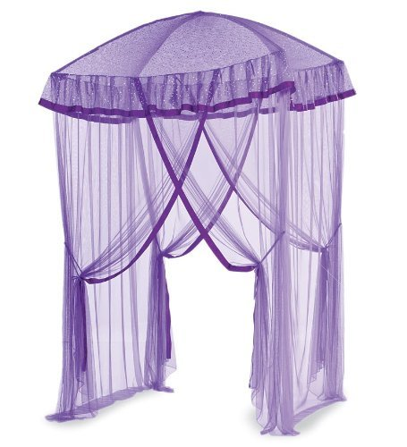 (HearthSong Sparkling Lights Hanging Bed Canopy Play Tent with Interior LED Light String - Kid's Bedroom Decor - Fits Twin to Queen Sized Beds - 58 x 50 - Purple)