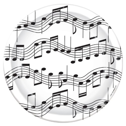 Musical Note Plates   (8/Pkg) (Music Party Decorations)