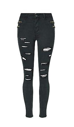 Pantalones Vaqueros De Las Señoras Pantalones Rasgado ...