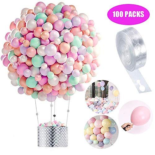 Globos Pastel 100-PACK, Macaron Pastel Color Latex Balloon para la Fiesta de cumpleanos Decoracion Baby Shower Suministros Ceremonia de Boda Globo, Graduaciones, Fiestas (A)
