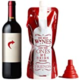 Take a Wine - Unique gift Ideas! Flexible Unbreakable Wine Bottle, Durable Travel Wine Bag For Camping, Hiking, Beach & Picnic. With Silicone Funnel! Gifts For Christmas, Mom, Dad, Wine Lovers! (Red)