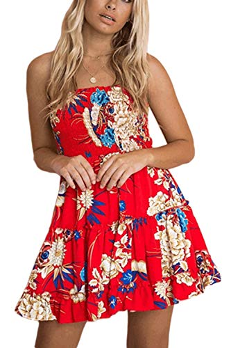 Zonsaoja Women's Strapless Dress Mini Floral Print Summer Tube Top Dresses Beach Red1 M