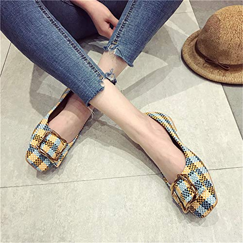 shoes comfortable women pregnant flat FLYRCX shoes EU metal mouth ladies shoes work buckle single casual Shallow shoes 41 lattice 6q48v6