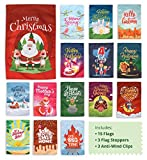 "Cheap Seasonal Garden Flags Set of 15 Pack Assortment – 12"" x 18"" – Double Sided Holiday Outdoor Lawn & Yard Decor Banners – Thanksgiving Christmas Halloween Easter 4 Seasons – 3 Stoppers + Anti Wind Clip"