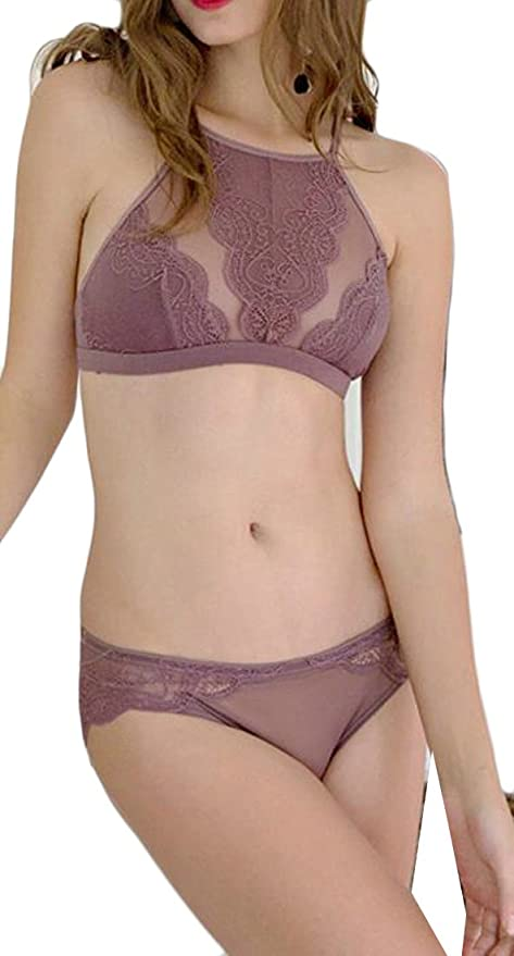 c1435e324865d Smallwin 3 Pack Womens Fashion Halter Lace See Through Everyday Bras Set  Purple S at Amazon Women s Clothing store
