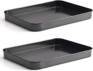 Falytemow Nonstick Bakeware Small Cookie Trays/Baking Sheet for Oven, Non Toxic and Healthy Rust Free and Easy Clean Black Set of 2