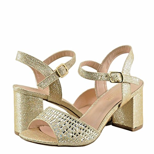 Block 9 Toe Nude Heels Peep Crystal Sparkle Womens Blossom Amber YwXq5Yg