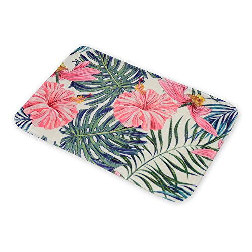 Sumer Style American Flannel Floor Mat Tropical Plants And Flamingo