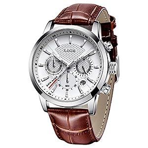 LIGE Montre pour Hommes Classique Elégant Etanche Quartz Chronographe Bracelet Cuir Automatique Date Cadeau pour Hommes