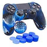 YoRHa Studded Silicone Cover Skin Case for Sony PS4/slim/Pro controller x 1(camouflage blue) With Pro thumb grips x 8