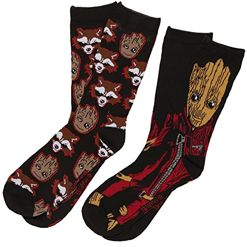 Guardians of the Galaxy Baby Groot & Rocket 2-pack Adult Socks, mens shoe size 6-12
