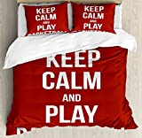Boy's Room Duvet Cover Set Queen Size by Lunarable, Keep Calm Play Basketball Quote Motivational Phrase Pop Culture Poster Design, Decorative 3 Piece Bedding Set with 2 Pillow Shams, Ruby White