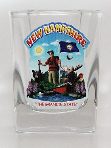 (New Hampshire State Montage Square Shot Glass)