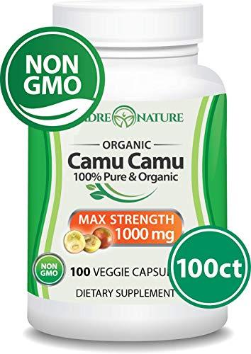 Organic Camu Camu Berry Supplement 500mg x 100 Vegan Capsules - Natural Vitamin C - Fresh Harvest from Peru (1-Pack) - Powder Camu