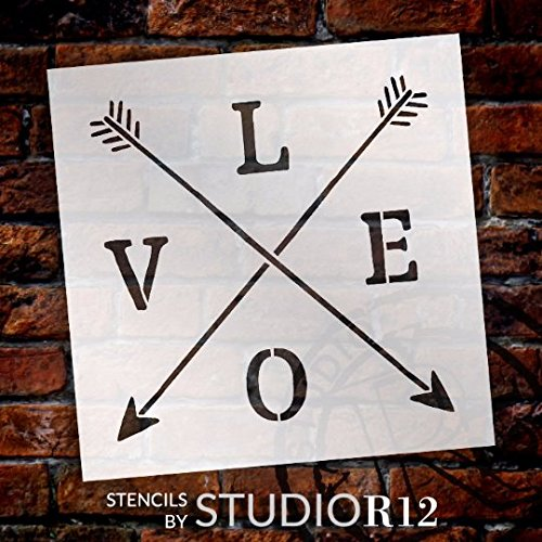 Love with Crossbar Arrows Stencil by StudioR12 | Reusable Mylar Template | Use for Painting Rustic Signs on Pallets, Wood and Pillows | DIY Home Decor - Choose Size