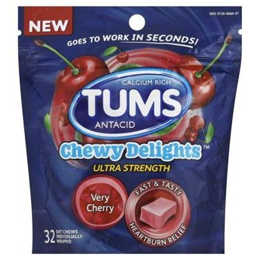 TUMS Chewy Delights Very Cherry Ultra Strength Antacid Soft Chews for Heartburn Relief 32 count