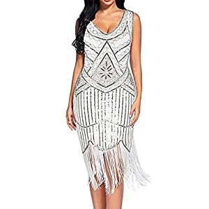 Hapae 1920s Sequined Embellished Tassels Hem Flapper Dress V Neck Beaded Fringed Evening Cocktail Dresses Gatsby Dress Long Prom Gown