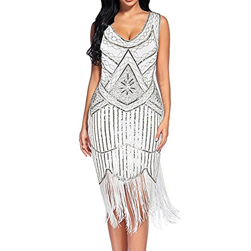 - 【MOHOLL】 Women's Vintage 1920s Fringed Gatsby Sequin Beaded Tassels Hem Flapper Dress White