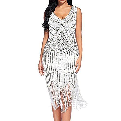 (Shusuen Women's Vintage 1920s Fringed Gatsby Sequin Beaded Tassels Hem Flapper Dress White)