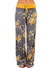 bab58611ba34 GREFER Womens Plus Size Comfy Stretch Floral Print Drawstring Loose Wide  Leg Lounge Pants