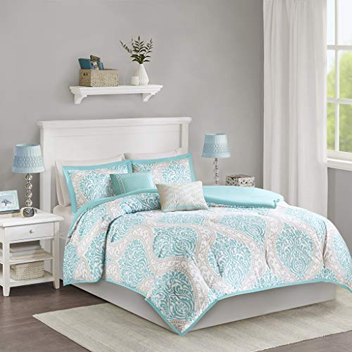 Intelligent Design Senna Comforter Set Twin/Twin XL Size - Aqua Blue/Gray, Damask - 4 Piece Bed Sets - All Season Ultra Soft Microfiber Teen Bedding - Great For Dorm Room and Girls Bedroom