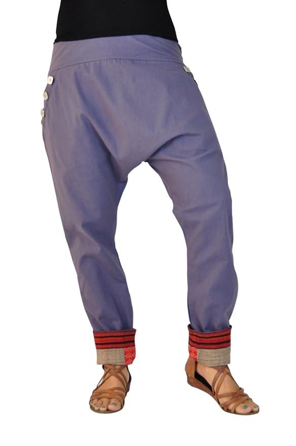 virblatt - Pantalones cagados Mujer Elegantes Pantalones Estilo Harem - PAI Gris: Amazon.es: Ropa y accesorios