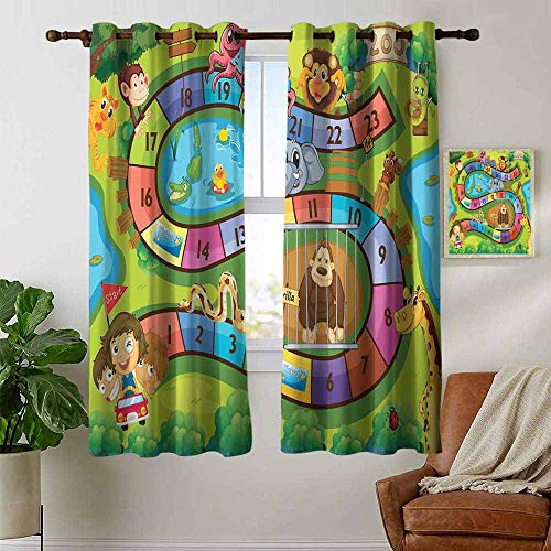 - petpany Blackout Curtains Kids Activity,A Day in a Zoo Themed Cartoon Style Children and Exotic Animals Gorilla Lion,Multicolor,Insulating Room Darkening Blackout Drapes for Bedroom 52