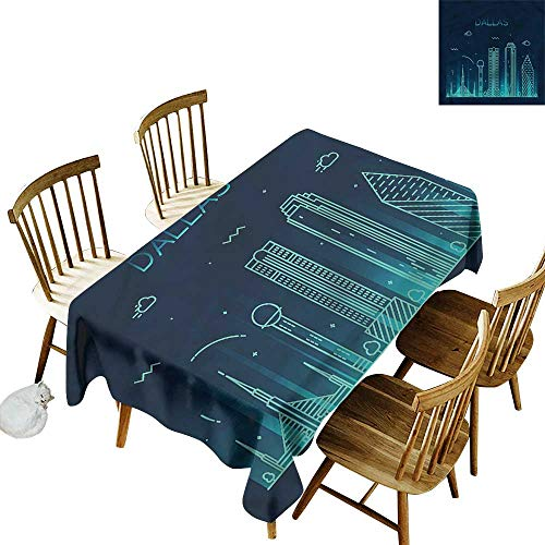 Tim1Beve Fashions Rectangular Table Cloth USA Dallas Landscape Fun Vacation High-end Durable Creative Home 60
